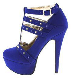 Dollhouse Spiked Cobalt Blue Heels