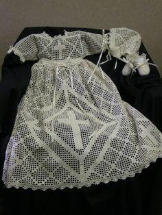 The Malachi... an original filet crochet Baby Dedication Gown by Mama Lisa Designs. $700.00, via Etsy.