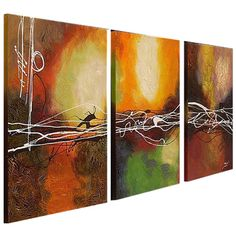 @Overstock - This unframed abstract canvas art will bring new life to the walls of your home. The set of three hand-painted canvases can be arranged horizontally for a dynamic, cohesive look.  http://www.overstock.com/Home-Garden/Hand-painted-Oil-Abstract-Canvas-Art-Set-of-3/4082140/product.html?CID=214117 $174.99
