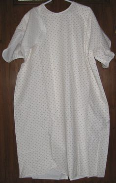 "3 PATIENT Hospital GOWN L 6"" Overlap in Back/Snap Neck Flex-Sleeve 50/50 LOT new #Whitehouse"