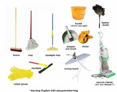 Learning the vocabulary for cleaning equipment using pictures and words English lesson. English Resources, English Tips, English Fun, Education English, English Words, English Lessons, English Grammar, Learn English, German English