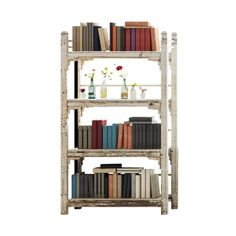 Bohemian Bookcase - Nurture your love for the gentle ravishes of time and brighten your room with our exclusive Bohemian Bookcase. A subtle shade of solid oak peeks out from behind the softly worn down paint of this cute three-level shelf. Perch your favorite herbs and plants on the top as you store all of your favorite books, fold away your extra quilts, or arrange all of your perfumes and toiletries for your online room. - Found at myWebRoom.com