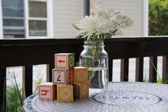 baby Blocks and Mason Jars for Casual Decor