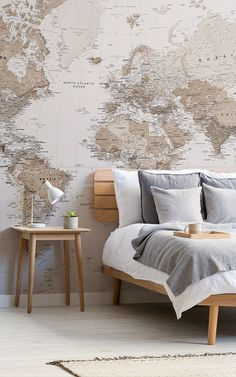 Style a neutral space with this earth tone world map mural, a versatile design perfect for vintage or modern themes. World Map Mural, World Map Wallpaper, Wallpaper Decor, Rustic Home Interiors, Classic Living Room, Classic Interior, Neutral Tones, Living Room Decor, Wall Design