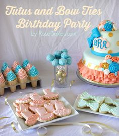 Tutus and Bow Ties Birthday Party. For this gorgeous party, I made Cake, Cake Pops, Cookies & Ice Cream Cone Cupcakes. Gold, Corals, Pinks Teals, and Peaches were the colors!