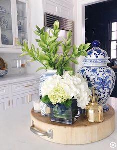 home decor blue blue and white kitchen ideas Glass Kitchen Cabinets, Kitchen Island Decor, Kitchen Colors, Blue Kitchen Decor, Kitchen Designs, Diy Kitchen, Blue Kitchen Ideas, Kitchen Vignettes, Chef Kitchen