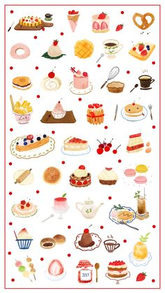 Sweets on behance illustration,painting,graphic design,adobe photoshop food graphic design, Cute Food Art, Cute Art, Food Graphic Design, Cute Food Drawings, Food Painting, Cute Doodles, Journal Stickers, Food Illustrations, Cute Illustration