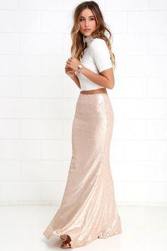 b7543f5c8ef Sea Spray Matte Gold Sequin Maxi Skirt at Lulus.com! Gold Sequin Dress Short