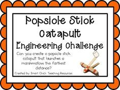 Popsicle Stick Catapult: Engineering Challenge Project ~ Just use the idea to inspire your child to complete the challenge. You do not have to buy this. Problem Based Learning, Stem Learning, Project Based Learning, Cooperative Learning, Steam Activities, Science Activities, Science Experiments, Science Classroom, Teaching Science