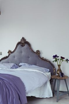 I love the muted tones in this bedroom which are very soothing - London Victorian House, Farrow Ball Great White, Purple Velvet Headboard Dream Bedroom, Home Bedroom, Bedroom Decor, Master Bedroom, Bedroom Ideas, Bedroom Designs, Bedroom Small, Decor Room, Dream Rooms