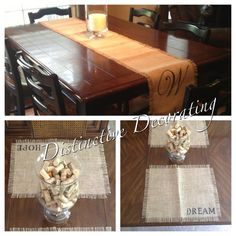 burlap placemats & table runner