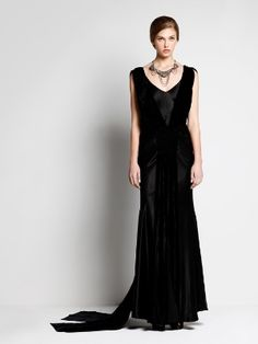 Maxi Dress John Galliano black silk   with velvet   http://www.goldenbrands.gr/public/product/dresses-galliano-azzaro-blumarine-sophiakokosalaki/5021800021