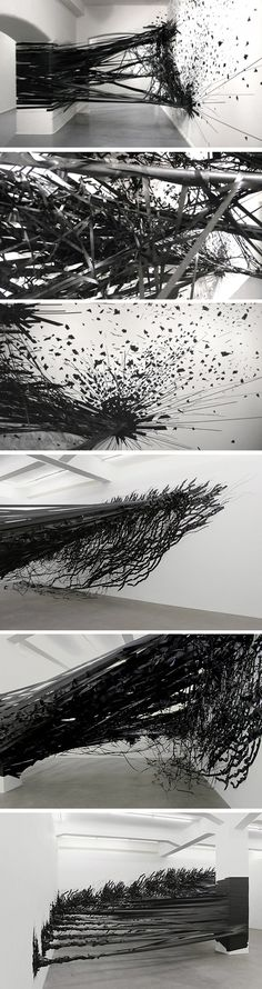 """Aerial"" tape installation by Monika Grzymala"