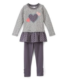Love this Charcoal Heart Ruffle Tunic & Leggings - Infant, Toddler & Girls on #zulily! #zulilyfinds