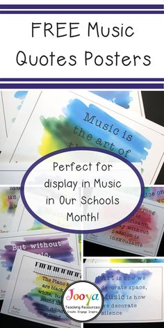 Download these 10 FREE music classroom posters today! Inspire young musicians with this set of ten printable music quotes posters. They will look great displayed around your room reminding your middle school and general music students about how wonderful it is to have music in our lives. Perfect for Music in Our Schools Month!