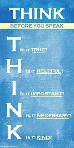 Think Before You Speak Inspirational Motivational Kindness Quote Saying Classroom Poster Print 12x24 - Brought to you by Avarsha.com