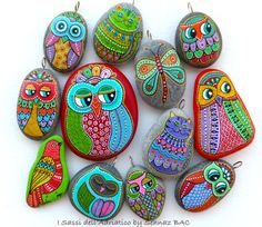 Hand Painted Stone OWL Pendant by ISassiDellAdriatico on Etsy. Painted using acrylic paints, small brushes, paint pens, and also isographs (0,2/0,3) with different inks. No stencils are used. Protected with 2-3 layers of high quality acrylic varnish coat and are signed and numbered.