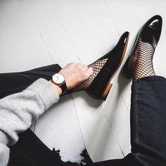 Fishnets + loafers