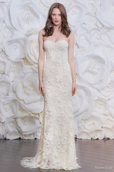 23417f49ef51 naeem khan bridal fall 2015 2016 brazil strapless beaded sheath wedding  dress Wedding Dress Styles