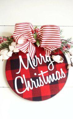 I like this different idea for a Christmas wreath!  Love the red buffalo check too!!  Red Buffalo Plaid - Farmhouse Christmas decor - Christmas Door Hanger - Christmas Door Decor - Minimal Wreath, Rustic Christmas sign - Barnwood Finish #ad