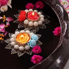 Beautiful Pearl Floating Diya Set Diwali Diya, Diwali Craft, Diwali Gifts, Diwali Decoration Items, Thali Decoration Ideas, Diwali Candles, Diy Candles, Door Hanging Decorations, Flower Decorations
