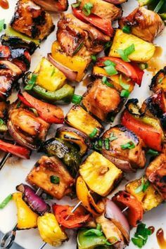 Grilled Hawaiian Teriyaki Chicken Skewers from The Recipe Critic is Number # on our list :: This meal is marinated in the very best homemade hawaiian teriyaki sauce! Loaded with peppers, fresh pineapple and red onions, these make an incredible and vibran Chicken Kabob Marinade, Grilled Chicken Kabobs, Grilled Chicken Recipes, Recipe Chicken, Grilled Pineapple Chicken, Shrimp Kabobs, Steak Kabobs, Chicken Marinades, Kabobs