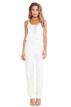 3fbd6c7062a New BCBG Max Azriza Womens White Sheer V-Neck Open Back Waylen Jumpsuit  Size 12