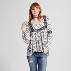 Women's Mix Print Crochet Trim Tunic Grey L - Hint of Mint (Juniors'), Gray