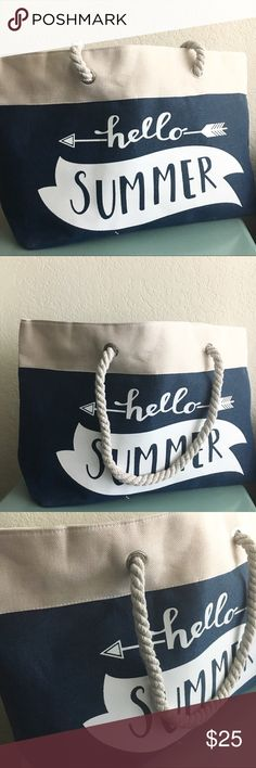 NWT Hello Summer Canvas Tote/Beach Bag Looking for a really cute summer bag to carry all of your summer necessities and one that can be used for multiple things? Look no further as this is the bag for you. Great as a beach bag or even a grocery bag this has enough space to carry everything you could need. LOF Bags Totes