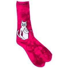 Catfish Socks (Pink Tie Dye) RIPNDIP ($12) ❤ liked on Polyvore featuring intimates, hosiery, socks, tie dye socks, wide socks, tye dye socks, tie-dye socks and pink hosiery