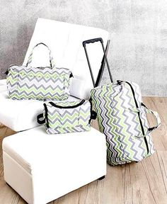 Trendy 3-Pc Luggage Sets Green Chevron Rolling Travel Duffel Tote & Toiletry Bag