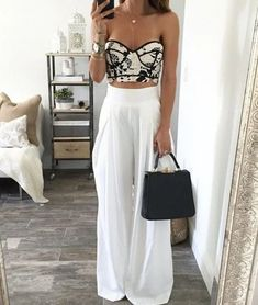 Flowy Pants Outfit, Summer Pants Outfits, Wide Leg Pants Outfit Summer, High Waisted Flowy Pants, Skirt Outfits, Classy Outfits, Trendy Outfits, Fashion Outfits, White Outfits For Women