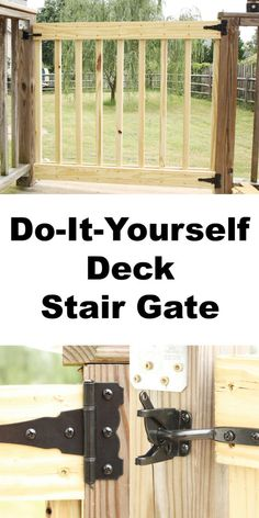 How to Build Your Own Deck Stair Gate - How to Build Your Own Deck Stair Gate. Simple, easy to follo Porch Gate, Deck Gate, Deck Stairs, Front Porch, Porch Railings, Deck Plans, Pergola Plans, Pergola Kits, Pergola Ideas