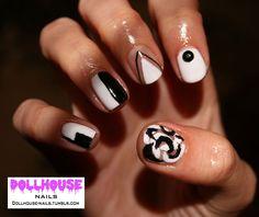 60's monocrome geometric nails  See more of my Nail Art at: dollhouse-nails.tumblr.com