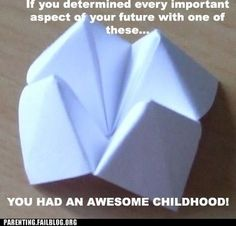 Fortune Teller - The absolute funniest family FAILs & WINs that every parent should see once their kids are old enough. Sweet Memories, Childhood Memories, 90s Childhood, Origami Fortune Teller, Funny Images, Funny Pictures, Funny Pics, Drake And Josh, Parenting Fail