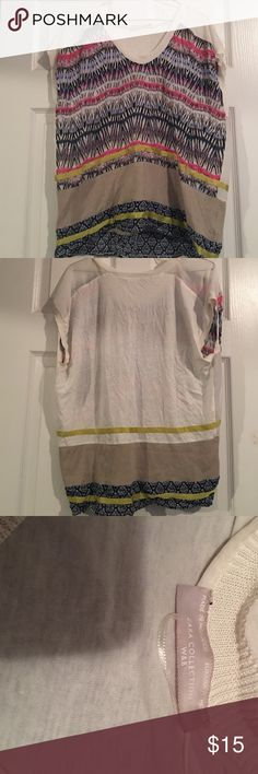 Multicolor fashionable shirt Pink, tan, blue, off white top. Cotton material in the back and shear sleeves. Worn once it's a must have dress it up or dress it down Zara Tops Blouses
