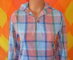 vintage 70's blouse plaid blue WRANGLER hood rare by skippyhaha, $23.00