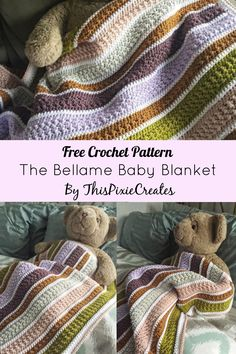 The Bellame Baby Blanket is a free crochet pattern that is available on my blog by clicking on the pin. The blog post includes the complete pattern, colour chart, links to each yarn used, and step-by-step pictures to guide you through the making process. This blanket is designed to be a baby blanket, but instructions are available to customize the length and width of your blanket; this means that you can make this into a throw or queen sized blanket. Texture is created using simple stitches.