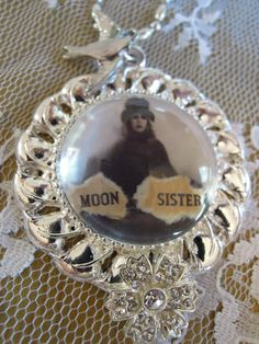 MOON SISTER, Silver Pendant, Stevie Nicks, in crystal ball glass tile pendant, bird charm, Gypsy, Wiccan, Boho, Goddess, Rebel, WItch by DreamALittleDesigns on Etsy https://www.etsy.com/listing/176581951/moon-sister-silver-pendant-stevie-nicks