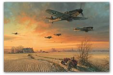 The Long Short Days by Robert Taylor  A group of Bf109Gs from III./JG26, shown here as they return to their forward base after a long fighte...