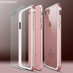 464d8729f8556 Roybens Metal Frame Case For iPhone 7 Plus Aluminum TPU Hybrid Bumpers + Transparent  Panel Hard PC Back Cover For iPhone 6
