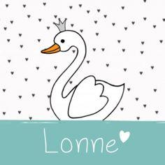 geboortekaartje JippieJippie zwaan zwartwit met hartjes meisje 984
