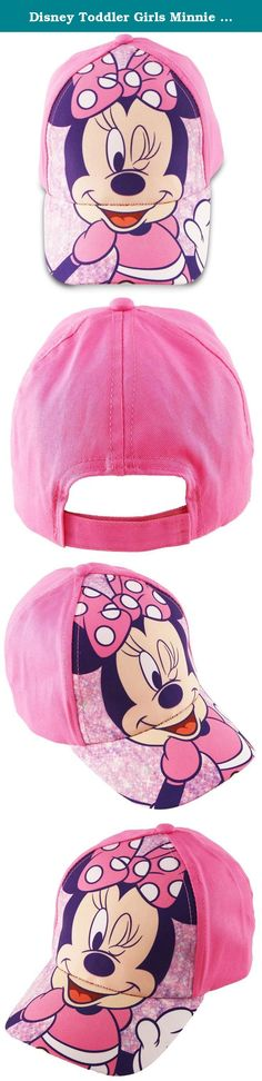 Disney Toddler Girls Minnie Mouse Bowtique Cotton Baseball Cap, Pink, One Size. She'll be pretty in pink in this fun and functional Disney Junior Minnie Mouse baseball cap. Jumbo sublimated Minnie Mouse Bow-tique art on the crown and peak keeps Minnie close to your little Disney princess at all times. Designed for girls aged 2-5 this one-size cap features an easy-to-use Velcro closure for an adjustable custom fit. The durable, easy-care 100% cotton twill fabric provides breathable comfort...