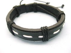 Shoply.com -Cuff Bracelet white rope and leather cover for black leather  fashion Jewelry  cowboy. Only $3.95