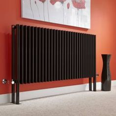 Add contemporary style to any room of your home with this stunning high gloss black designer radiator Horizontal Designer Radiators, Black Radiators, Attic Rooms, Towel Rail, Heating Systems, Contemporary Style, Home Appliances, Warm, Cabinet