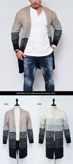 Tops :: Chunky Gradation Wool Shawl Long Knit-Cardigan 103 - Mens Fashion Clothing For An Attractive Guy Look