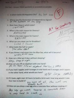 Kids are sometime smarter and creative, they find solution of any problem they face, as you can see these funny and creative exam answers from smart kids. Funny Exam Answers, Funniest Kid Test Answers, Kids Test Answers, Funny School Answers, Funny School Jokes, Really Funny Memes, Stupid Funny Memes, Funny Texts, Hilarious