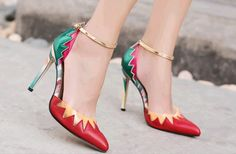 Product  Sexy cute spell color pumps with floral style, strappy ankle pumps, transparant pu leather, sharp head, high heels, Hasp  Material PU leather, viscose anti-skidding sole  Heel 10.5 cm  Platform 0.5 cm  Size option  SA Size 2.5-6.5, Eur...