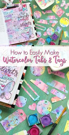 How to Easily Make Colorful Watercolor Tabs and Tags | Great tutorial complete with video instructions!  The perfect easy DIY project to add personality to your crafts, journaling, gift wrapping, happy mail, or even your planner! pitterandglink.com