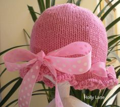 So Sweet Hand Knit Baby Hat Pink With Polka by HollyLaneTreasures, $24.00